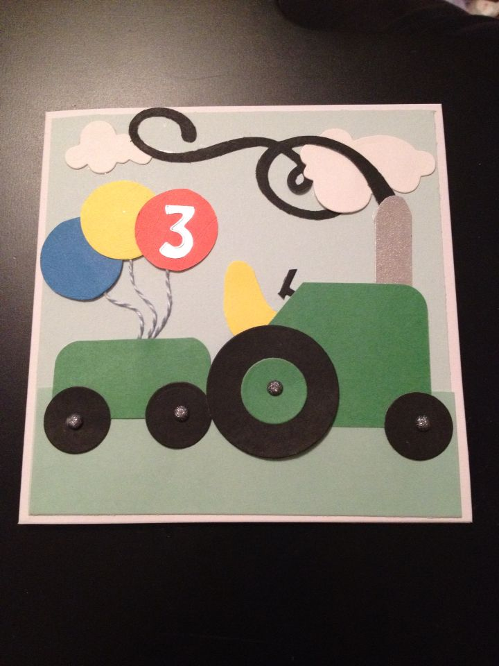 3 Year Old Birthday Card Tractor Balloons Made Using Various Die