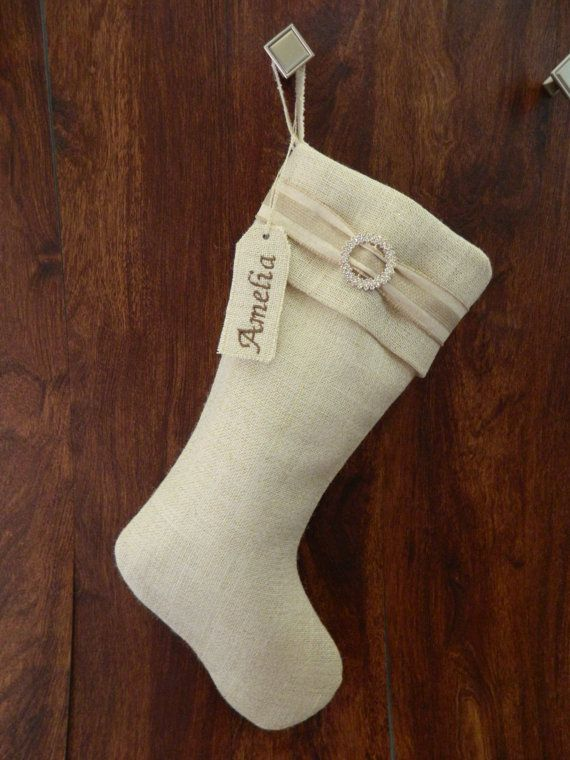 Elegant burlap Christmas stocking This by RedeemedCustomDesign