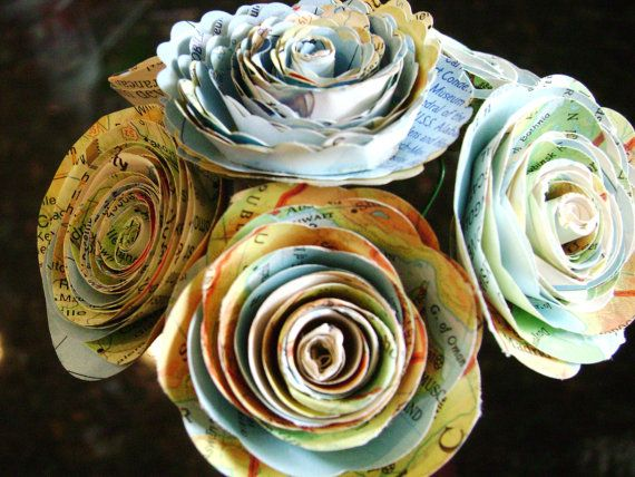 Tiny 1 1 1 2 Spiral Roses Made From Vintage Atlas Maps On Stems