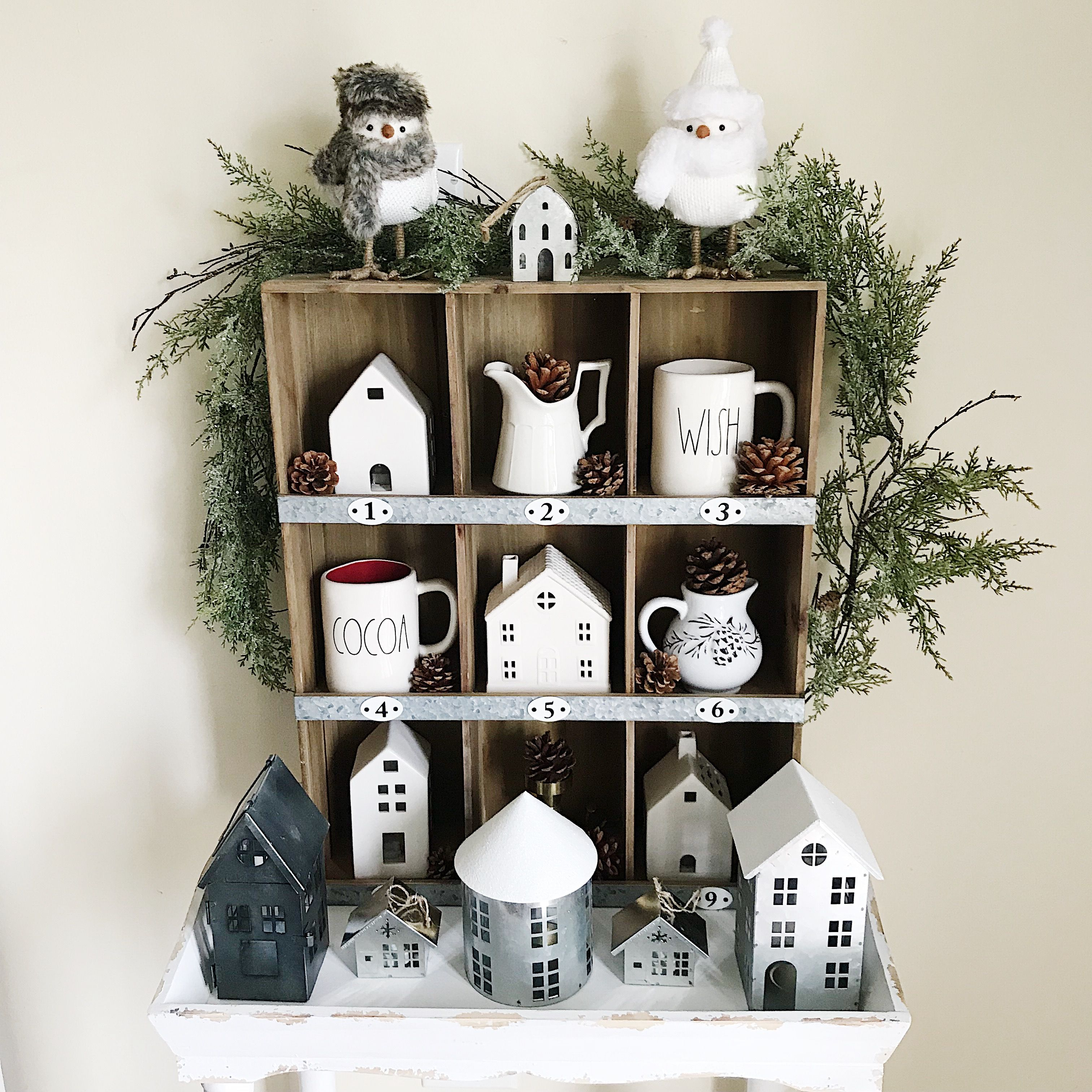 Farmhouse Shelf Styled For Winter With White Ceramic Houses Galvanized Metal Houses And White Decor Christmas Decorations Farmhouse Shelves Ceramic Houses