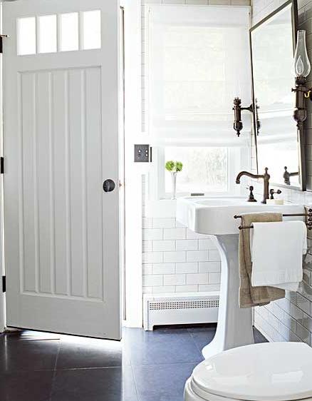 Bathrooms   White Pedestal Sink White Subway Tiles Backsplash White Roman  Shade Oil Rubbed Bronze Faucet Pivot Mirror Sconces Black Stone Floor