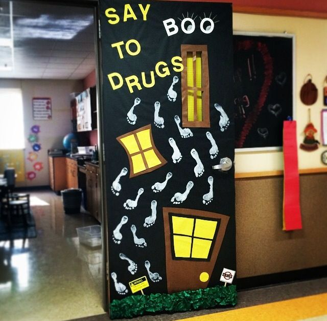 Red Ribbon Week and Halloween classroom door! Say BOO to drugs! #halloweenclassroomdoor