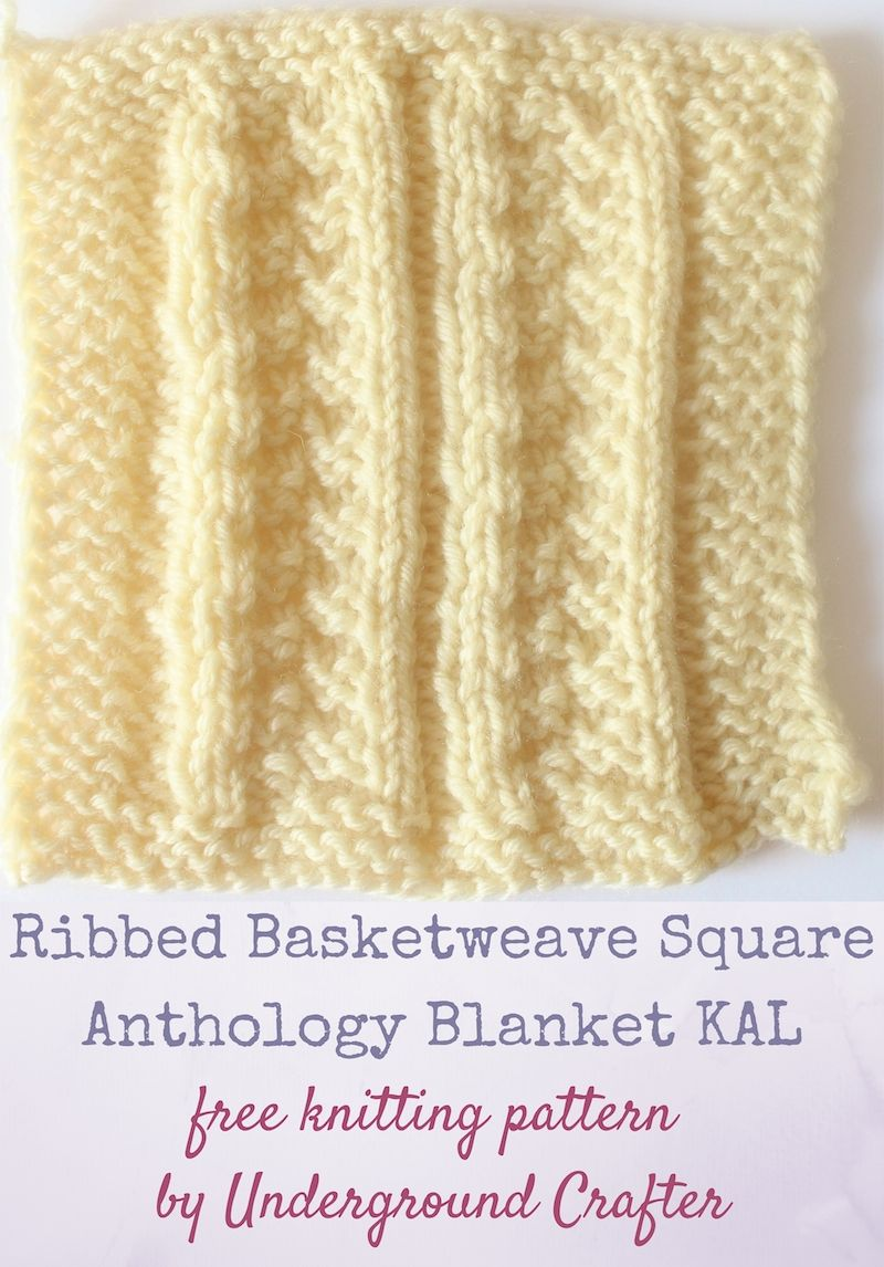 Ribbed Basketweave Square, free knitting pattern by Underground ...