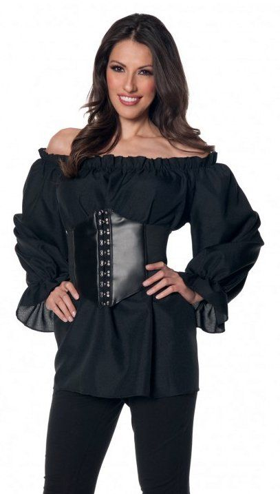 Plus Size Women S Long Sleeve Black Renaissance Peasant Blouse