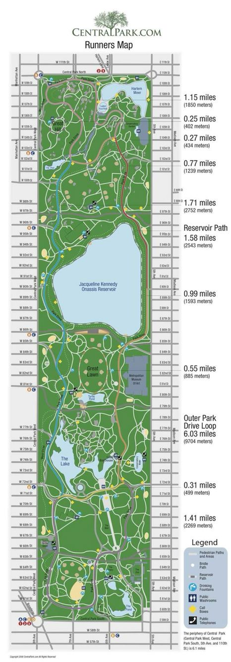 Central Park Running Map Central park map, New york