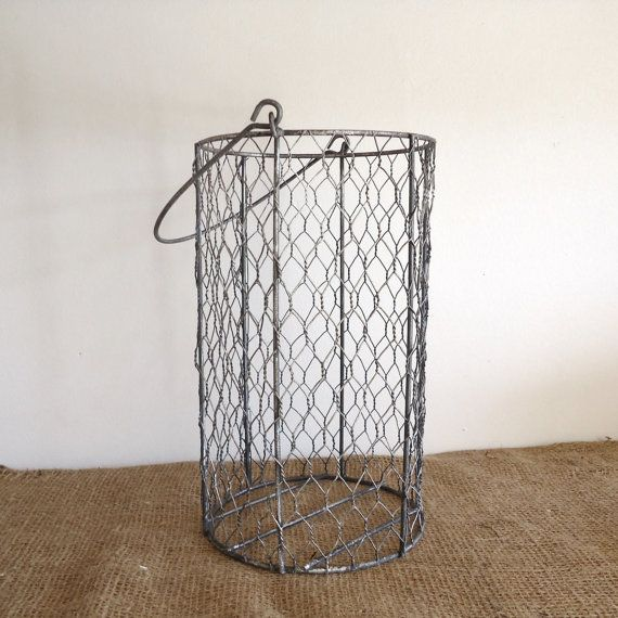 Vintage Wire Basket, , Chicken Wire Basket, Bathroom Decor, French Country,  Shabby