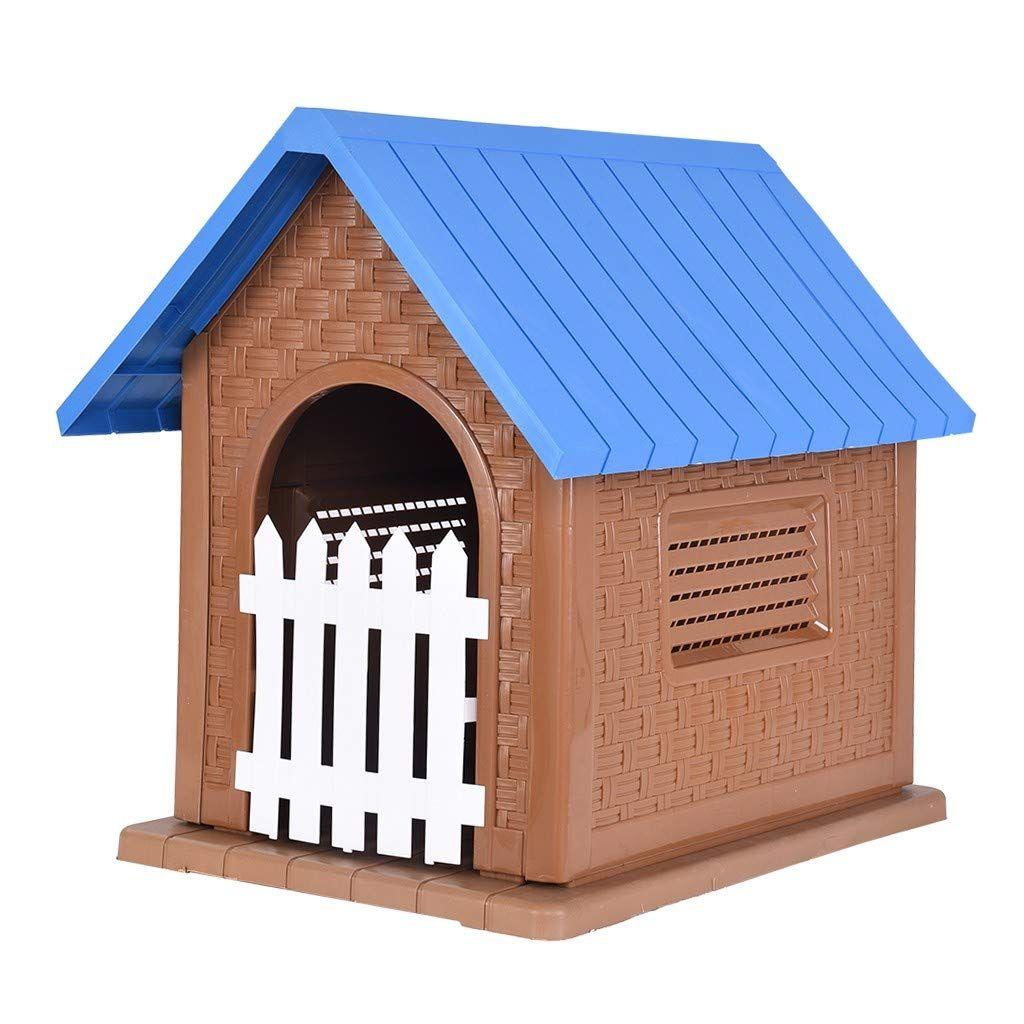 Pet Plastic Dog Kennel Outdoor Dog House With Door Waterproof
