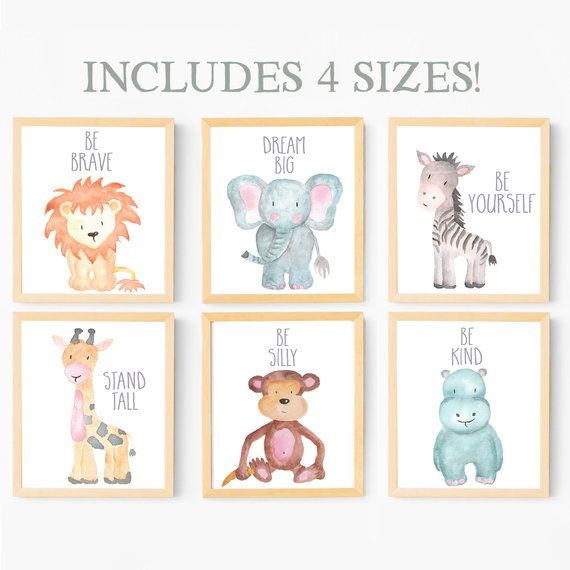 Baby Animal Nursery Wall Art Print Printable Watercolor Prints Safari Painting Animals Set Of 6 For