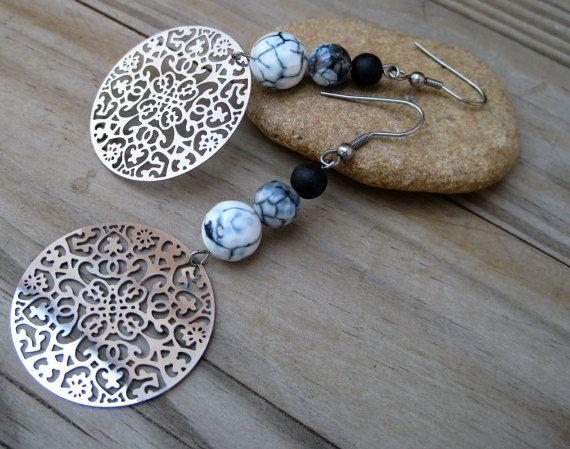 Silver Filigree Earrings big circular