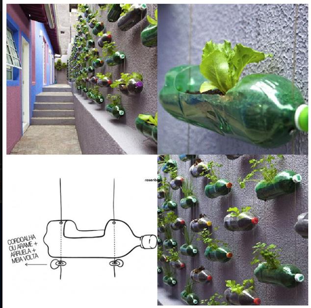 jardín de botellas de plástico