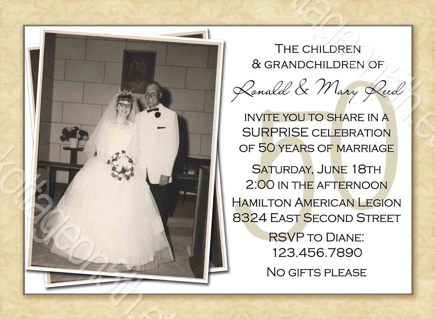 Free Printable 50th Wedding Anniversary Invitation Templates | G&G ...