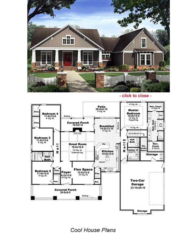 Bungalow floor plans on pinterest vintage house plans for One story bungalow style house plans