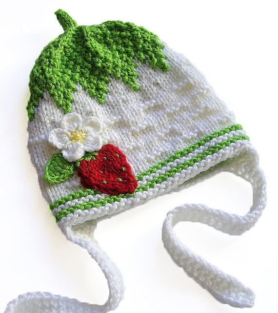 Baby girl hat with strawberry knitted baby hat kids by MiaPiccina ...