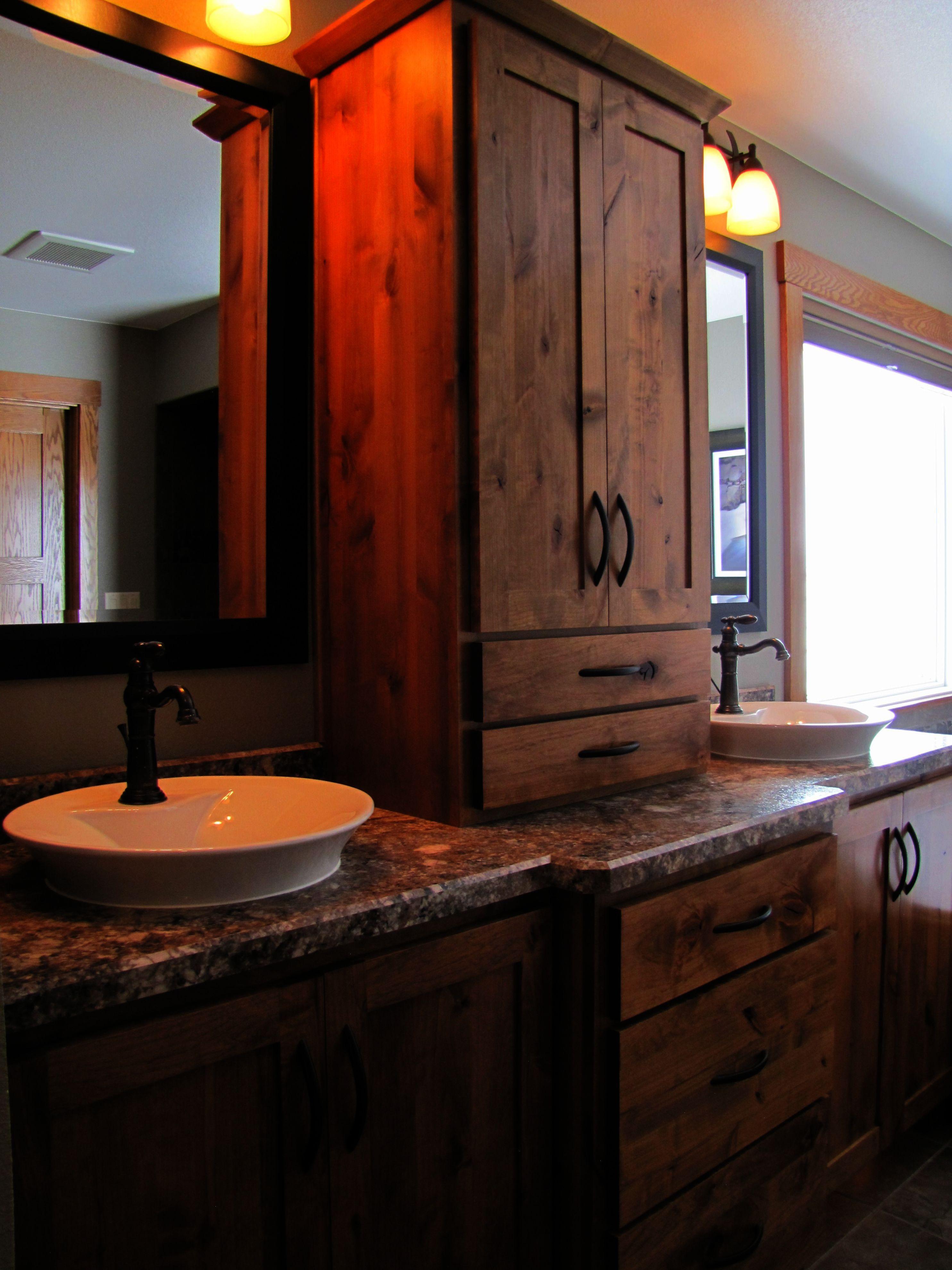Rustic Bathroom Double Vanity Ideas - Rustic Alder Cabinetry Highlights