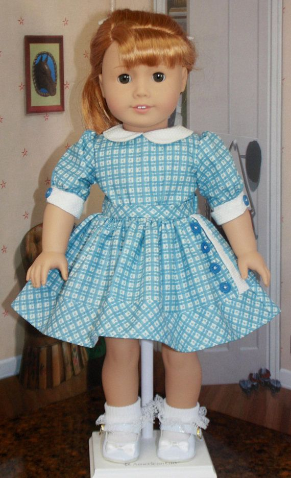 American Girl Style Button Side Front Dress in Blue