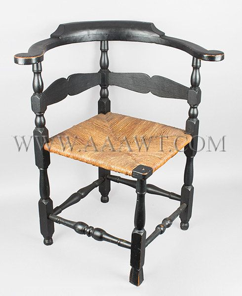 Delicieux Corner Chair, Roundabout, Old Black Paint, Spanish Foot, Old Black Paint  New England 18th Century