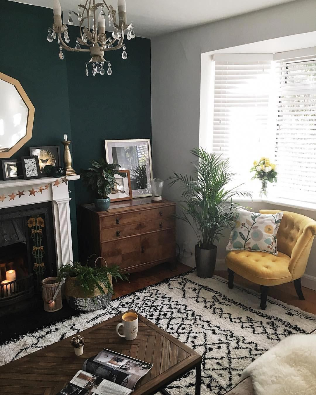 Dark Accent Wall Light Rug Pops Of Earthy Color Living Room Designs Home Living Room Living Room Green