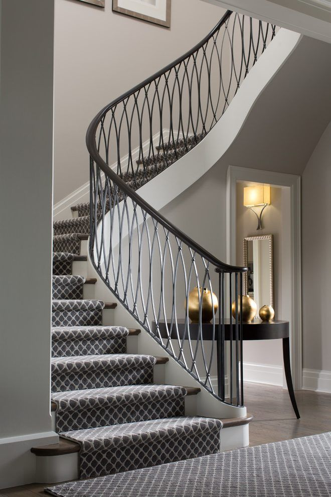 Best Carpet Stair Runner Staircase Transitional With Limestone 400 x 300