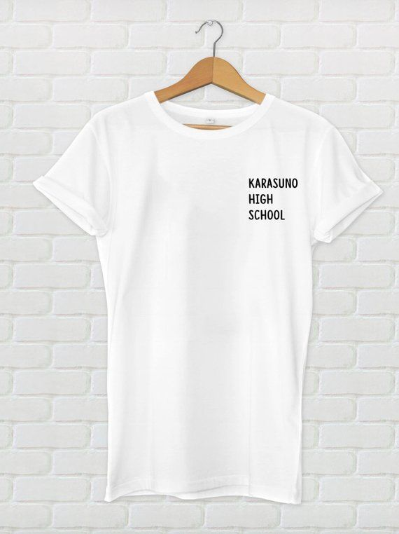 5015a5280 Karasuno High School T-shirt, Unisex, Tops, Tees, Anime, Haikyuu,  Animation, Women, Black, White, Gr