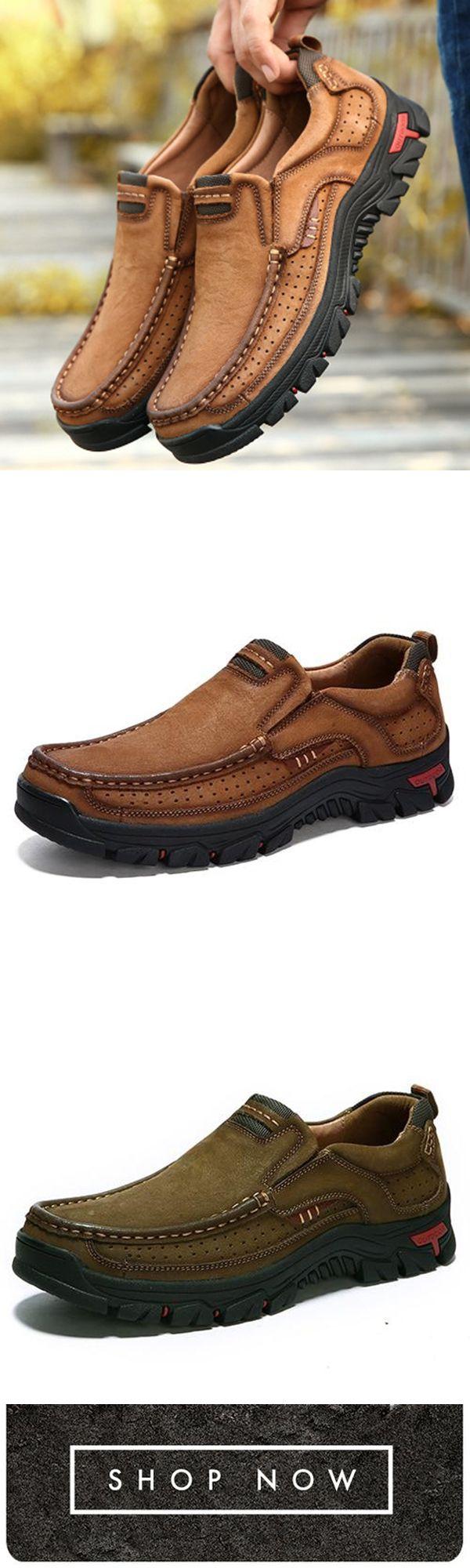 a623d499af40 Men Casual Outdoor Slip-on Genuine Leather Oxfords