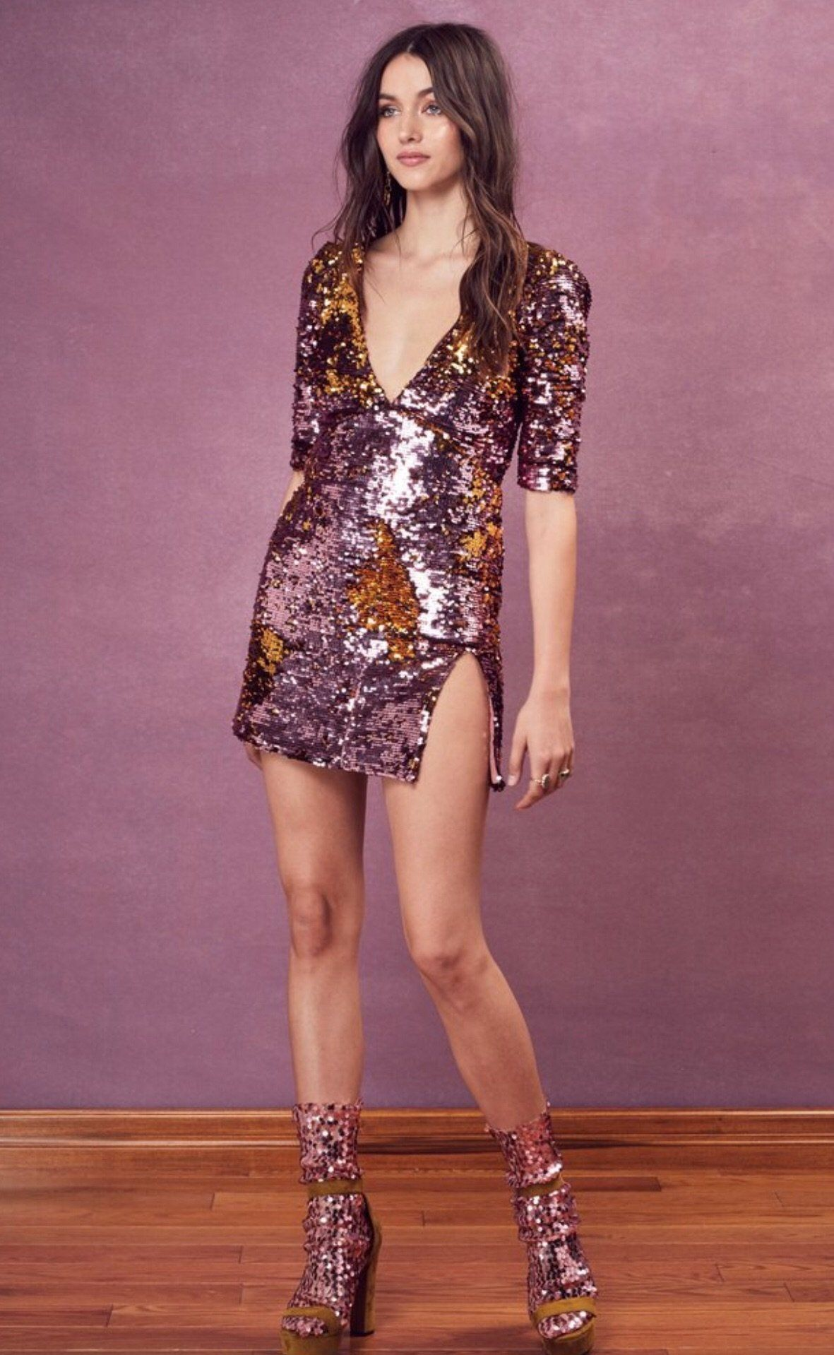 270e21f93427 Sparkles Party Dusty Rose Mini Dress For Love And Lemons | Products ...