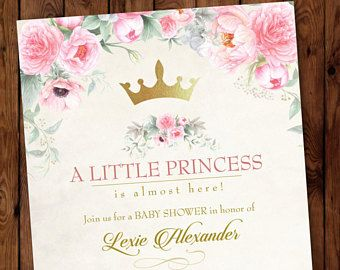Princess Baby Shower InvitationPink Princess Baby ShowerLittle