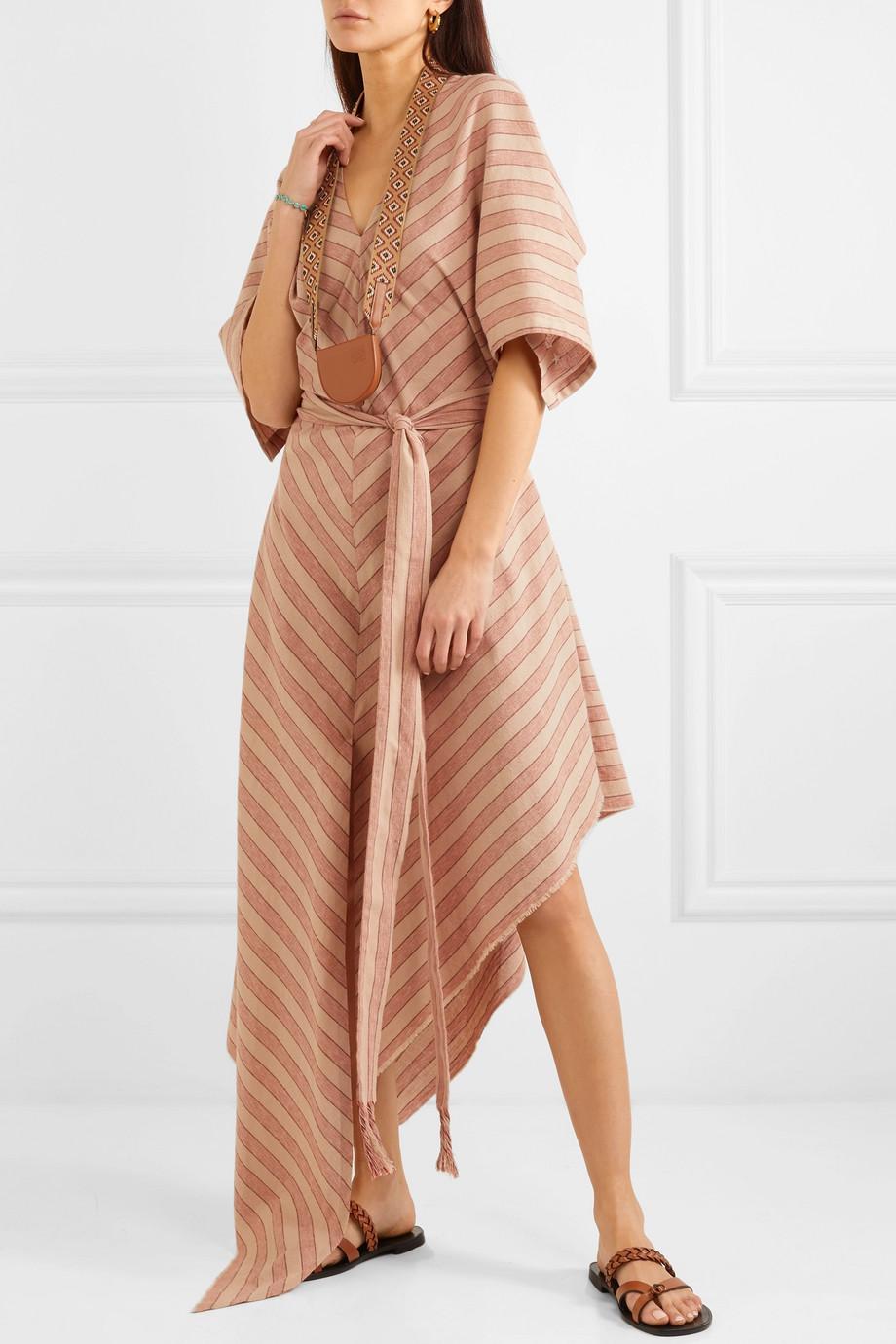 Beige Paula S Ibiza Belted Striped Cotton Gauze Midi Dress Loewe Midi Dress Dresses Striped [ 1380 x 920 Pixel ]