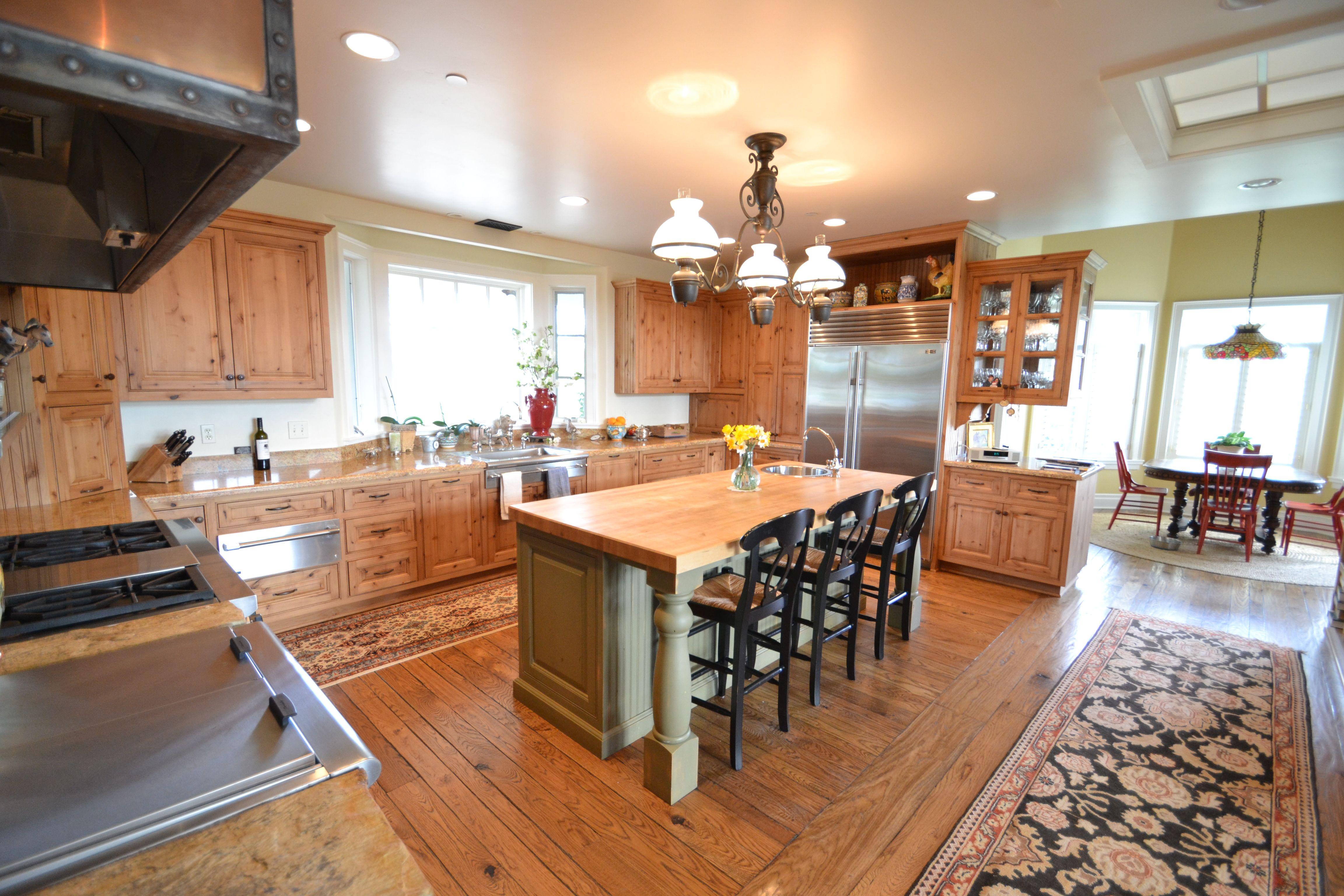 Great Cali Ranch Kitchen... Santa Ynez With Copper Range Hood And Breakfast  Island.