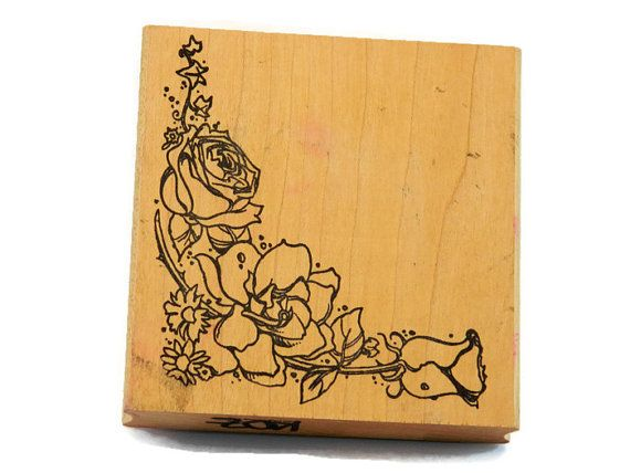 Rose Corner Stamp Rubber Spray Border Wedding