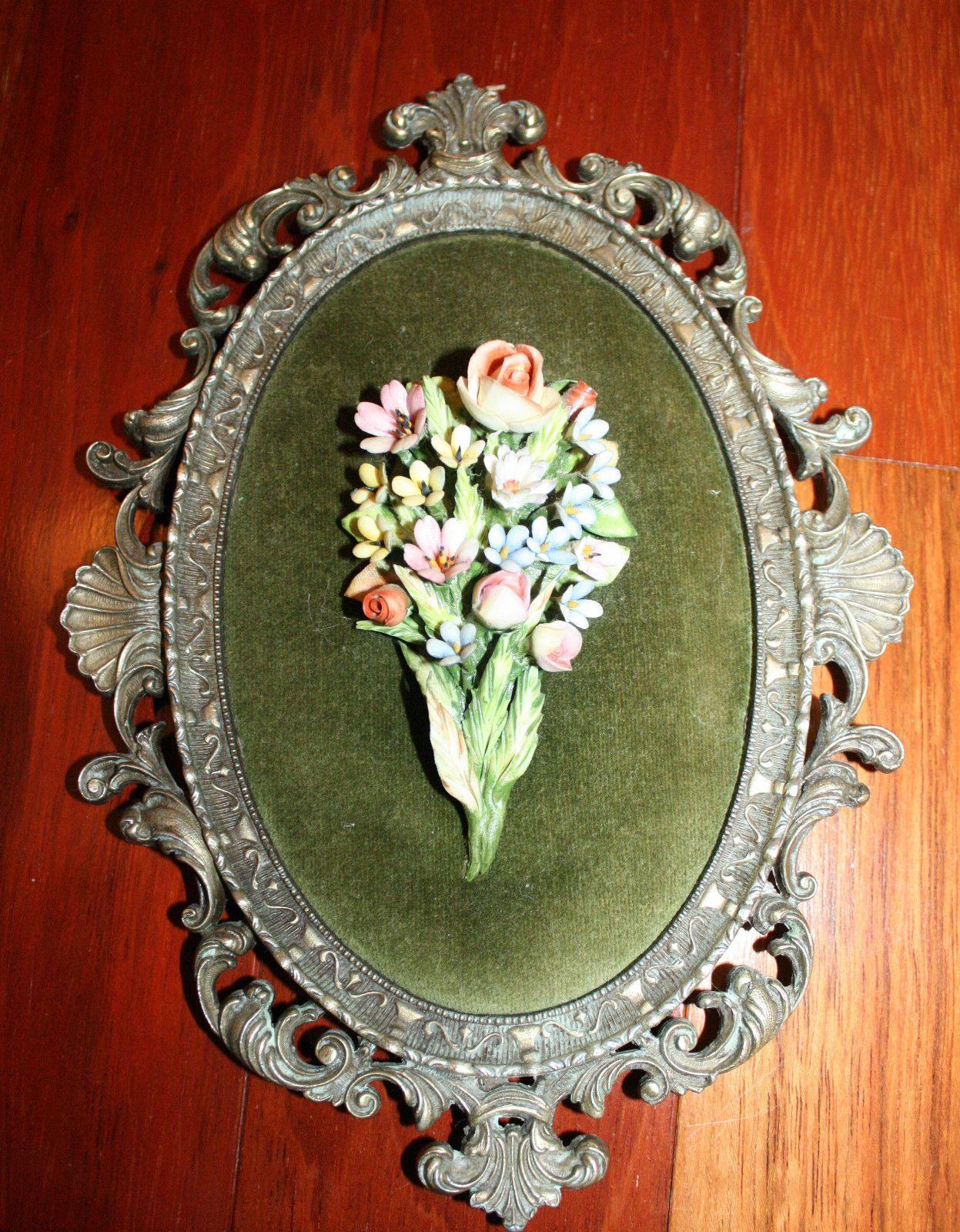 Vintage Brass Oval Framed China Flowers on Velvet Mod Dep Made in ...