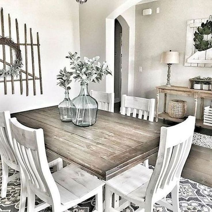 50 Stunning Farmhouse Dining Room Decoration Ideas #farmhousediningroom