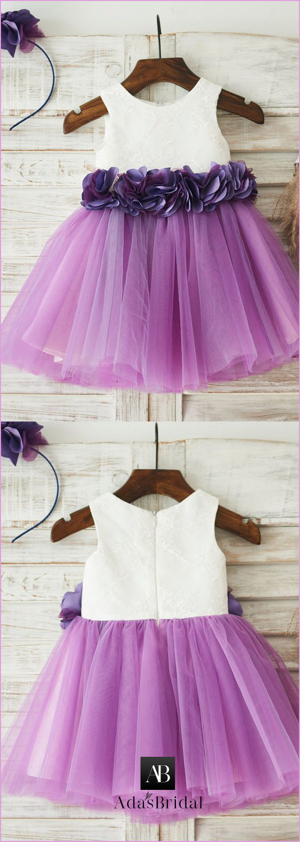 Stunning Lace & Tulle Scoop Neckline Short Length Ball Gown Flower ...