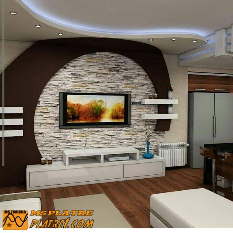 Meuble tv en placoplatre   Tv wall design, Modern tv wall units ...