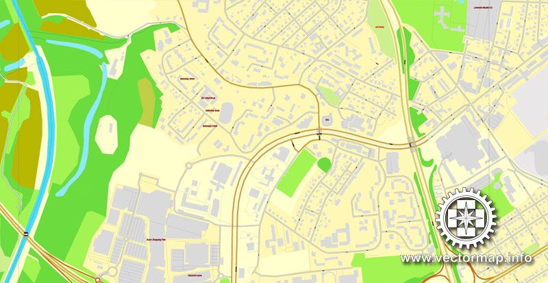 PDF Map Ostrava Czech Republic printable vector street map exact