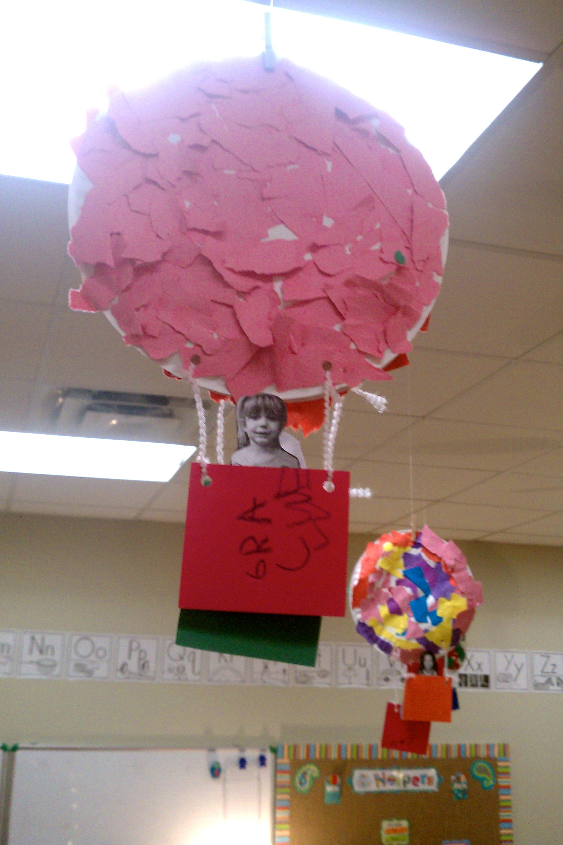 Tear paper hot air balloon on a paper plate. & Transportation week pre-k. Tear paper hot air balloon on a paper ...