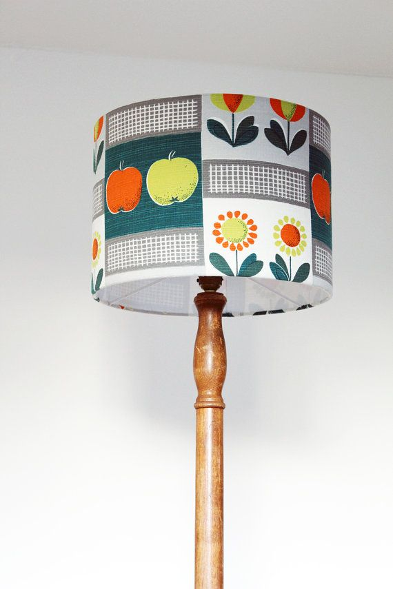 Vintage 1950s Fabric Lampshade Handmade Apples By Emmalovesxxx Retro Lampshade Funky Lamp Shades 1950s Fabric