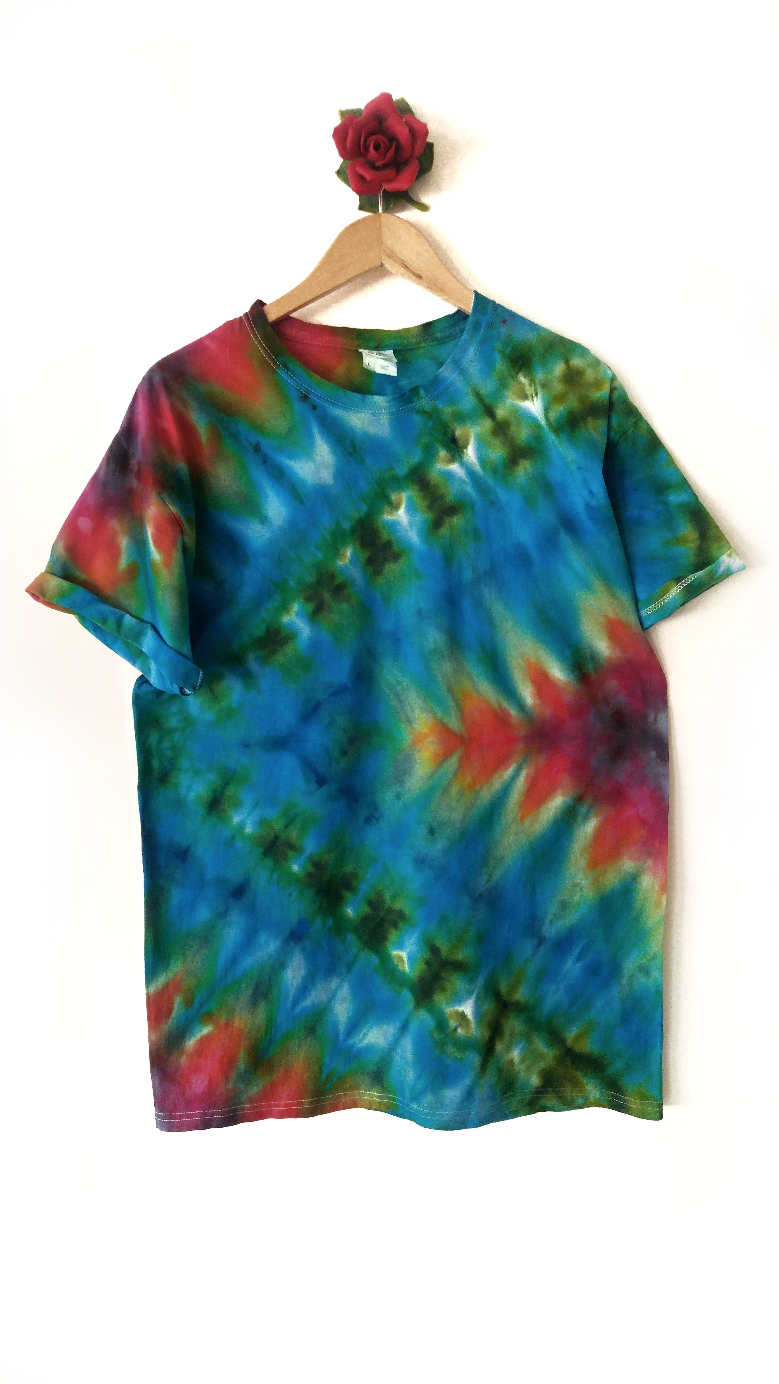 Fruit of the Loom Brand Tshirt Size UNISEX Large Ice Dyed