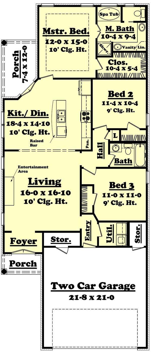 European Home Plan 3 Bedrms 2 Baths 1400 Sq Ft 142 1015