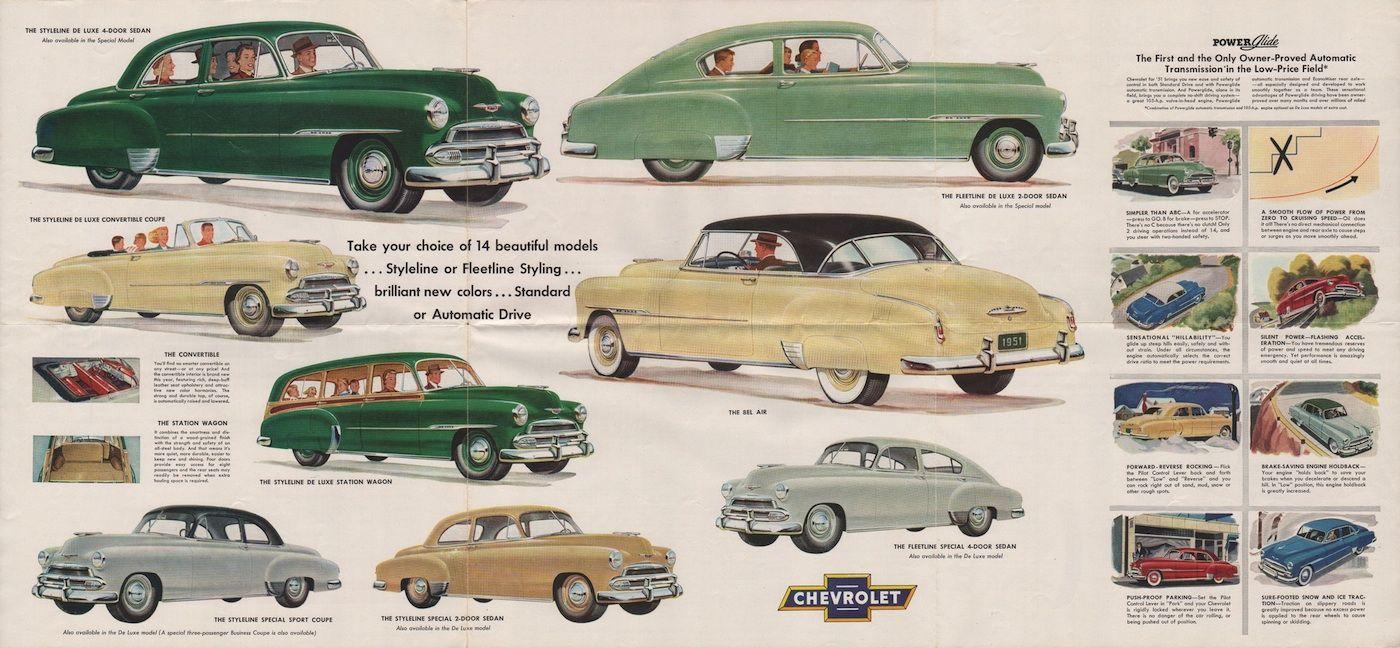 1951 chevrolet lineup models include the styleline fleetline and bel air [ 1400 x 648 Pixel ]