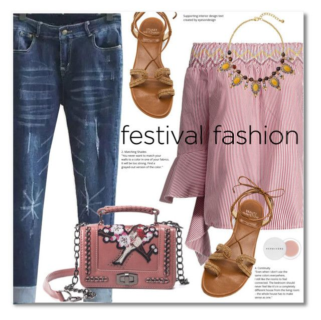 """""""Show Time: Best Festival Trend"""" by svijetlana ❤ liked on Polyvore featuring Stuart Weitzman, Herbivore, festivalfashion and rosegal"""