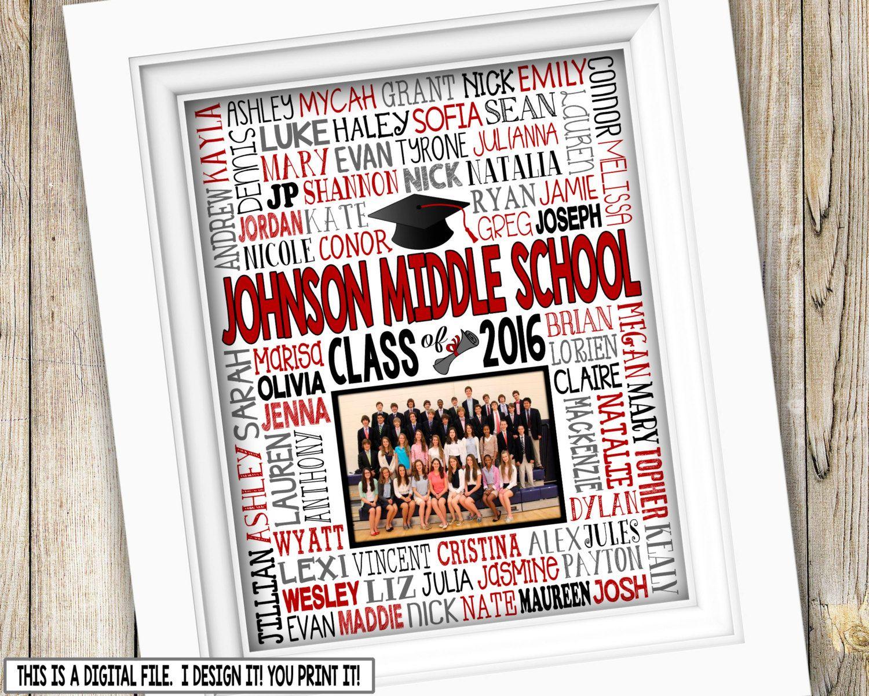 8th grade graduation gift class picture printable graduation middle school graduation junior