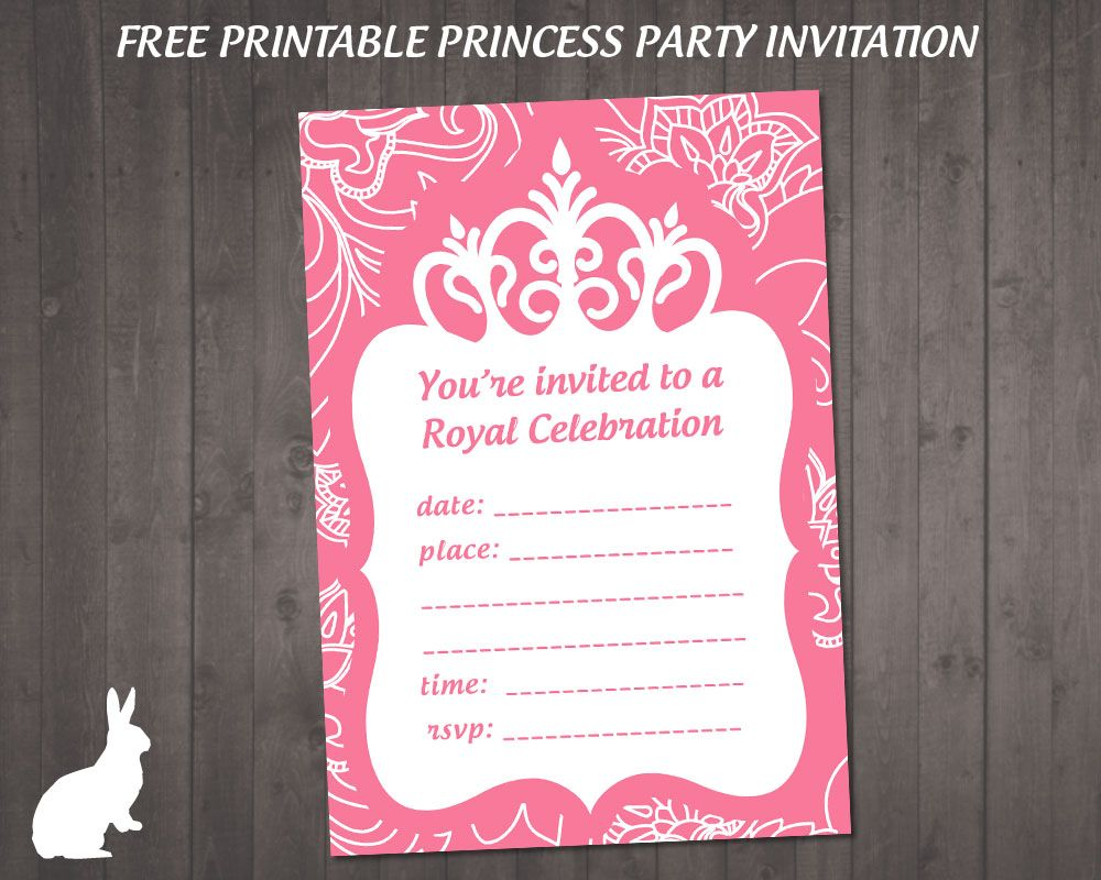 FREE Princess Party Invitation Ruby and the Rabbit – Party Invitations for Free