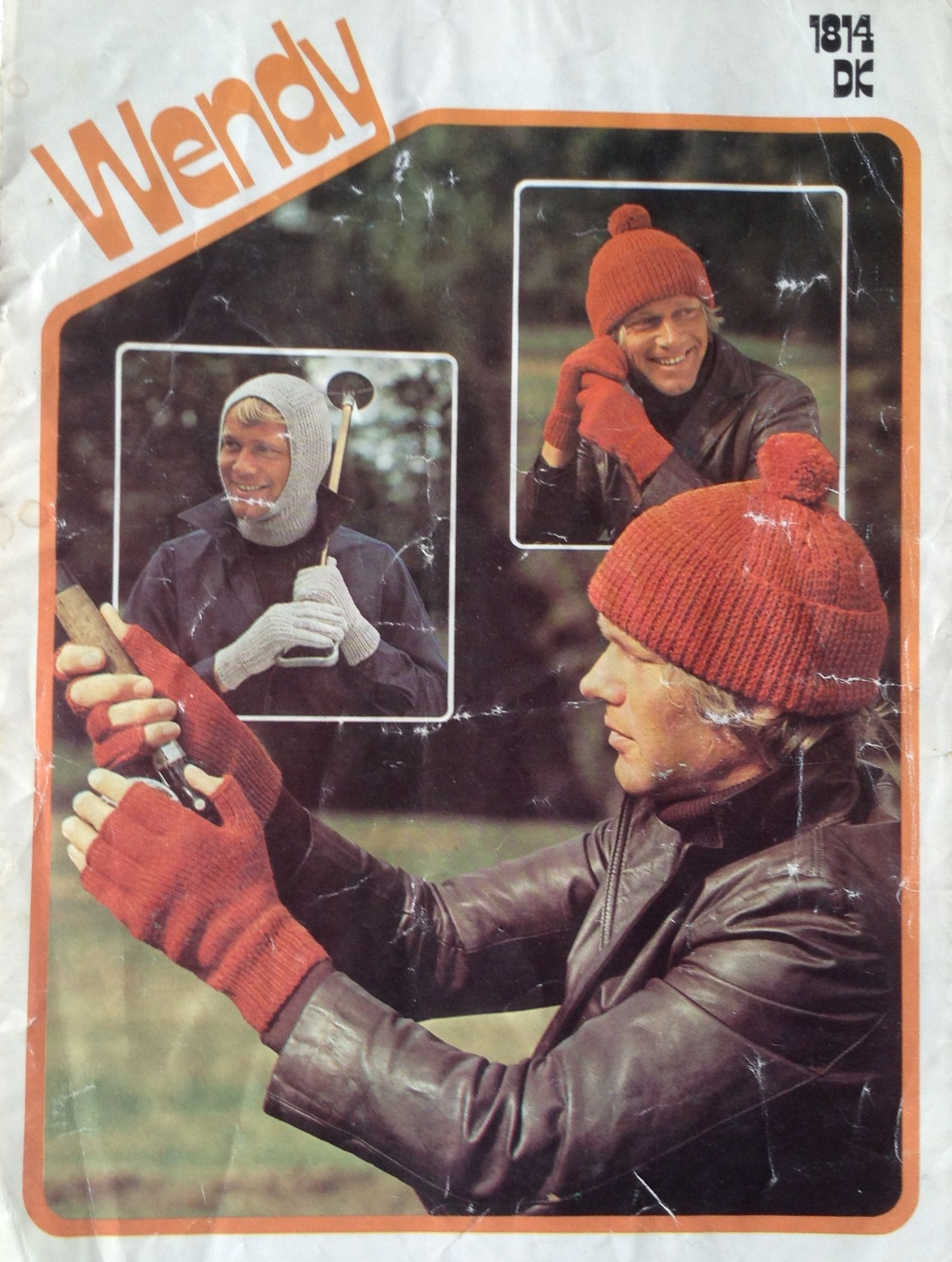 1970 Wendy Wool knitting pattern for a ribbed hat, fingerless gloves and a balaclava.