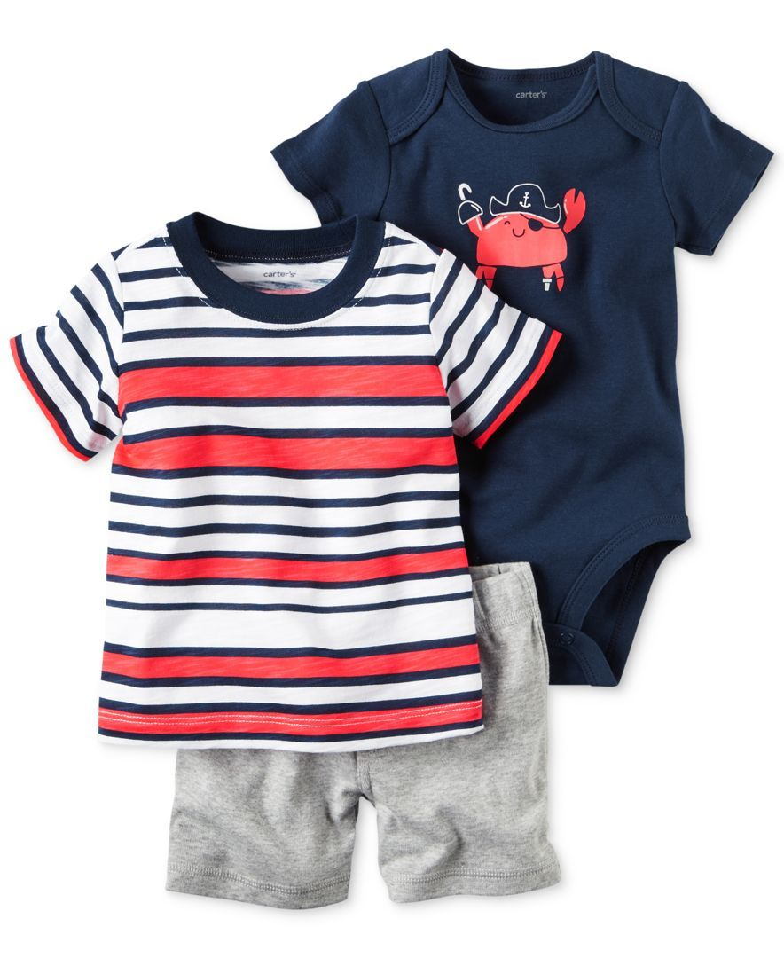 87b11f977 Carter's 3-Pc. Cotton Striped T-Shirt, Crab Bodysuit & Shorts Set ...
