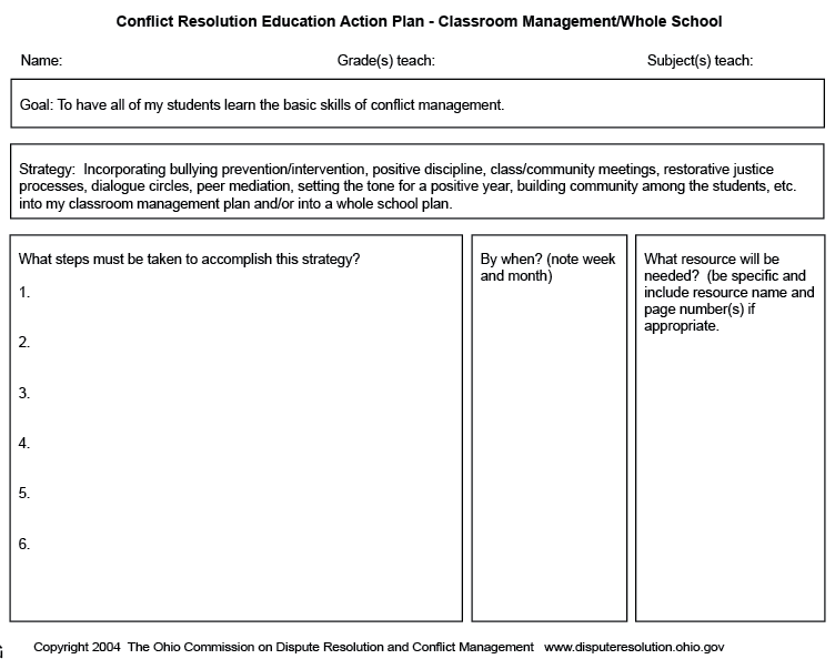 conflict of interest management plan template - cre action plan for classroom management education