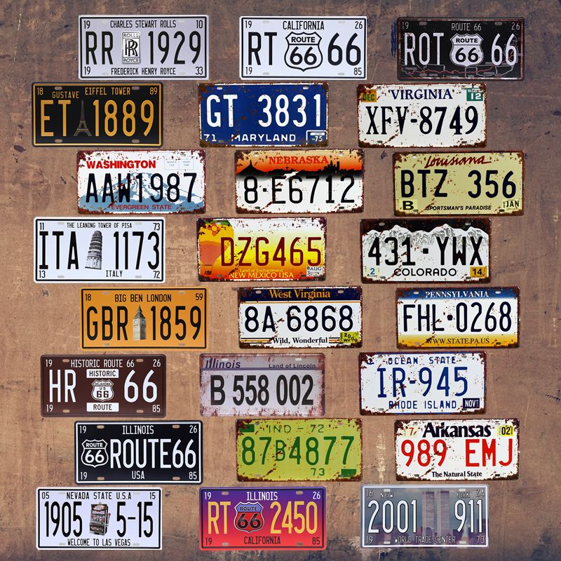 Vintage Car Number License Plate Motorcycle Tin Signs Art Wall Decor ...