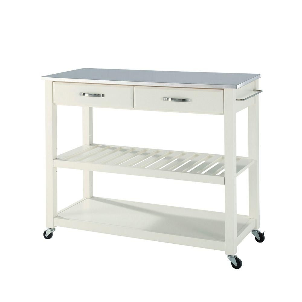White Kitchen Cart With Stainless Steel Top | White kitchen cart ...