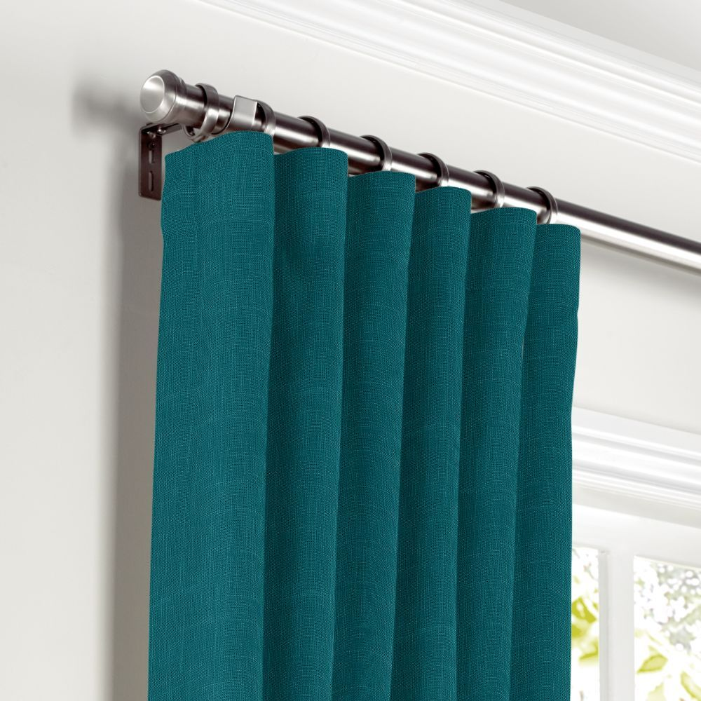Dark teal linen curtain ring top front