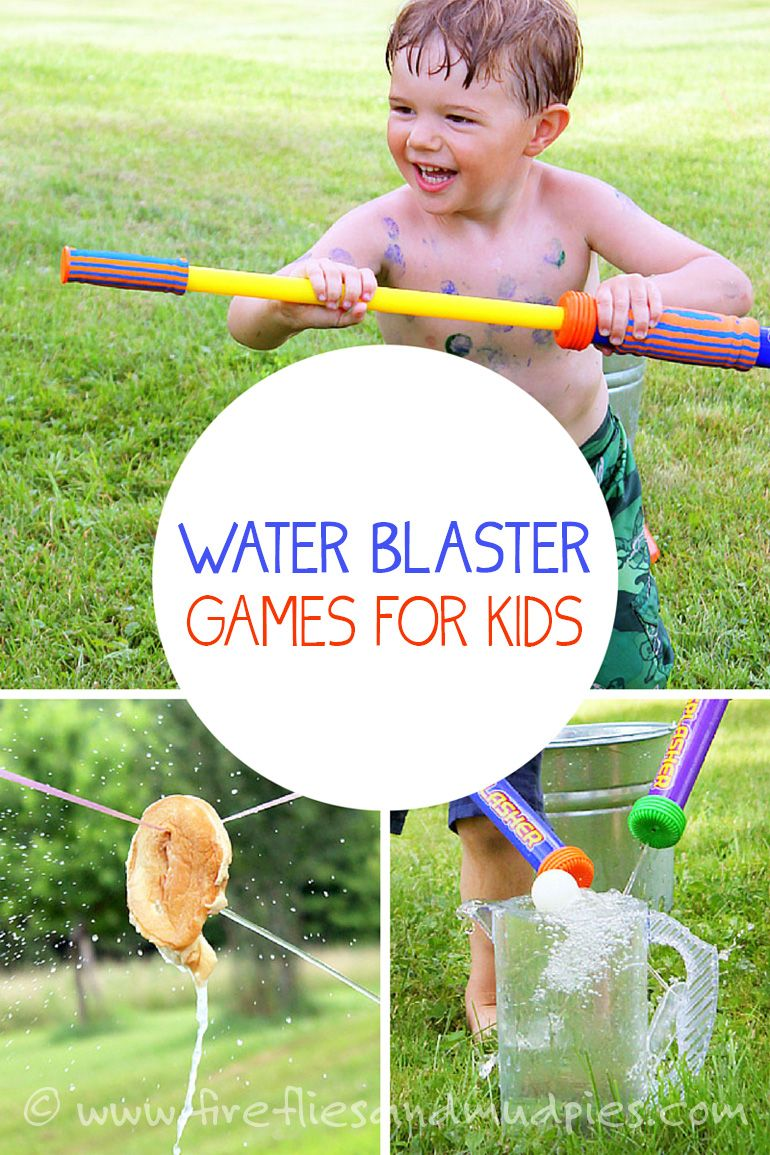 Hot day? Cool off with water blaster games! Kids will love it