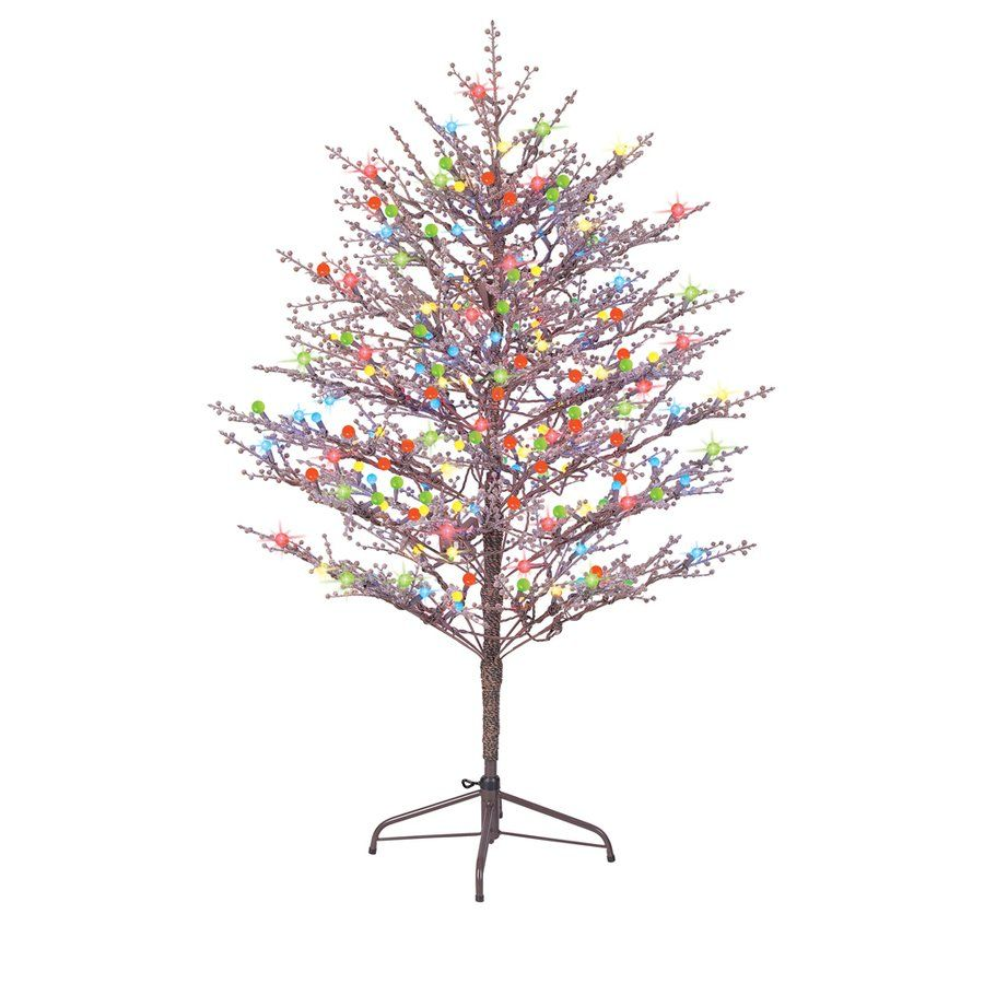 Exceptional Pre Lit Christmas Trees Multi Color Led Lights Part - 14: GE Indoor/Outdoor Brown Branch Winterberry Pre-Lit Artificial Tree With Multicolor  LED Lights GE Brown Branch Winterberry Pre-Lit Artificial